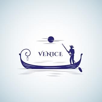 ヴェネツィアのボート、エンブレムやロゴのテンプレート。浮遊ゴンドラ、月と船頭のシルエット。