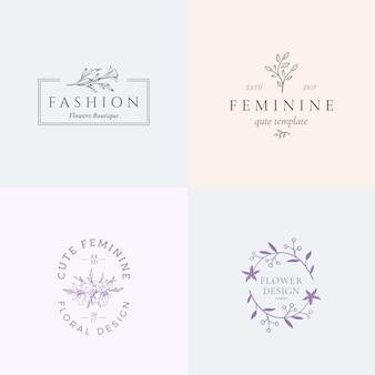 Абстрактные женские знаки или логотип шаблоны с ретро цветочные иллюстрации и стильный типографии.