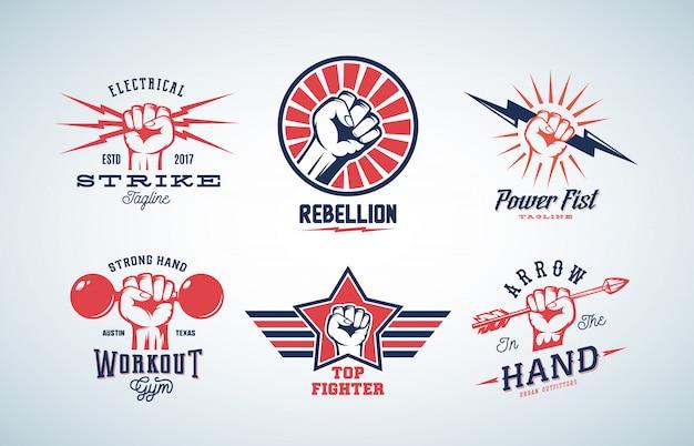 抽象的な拳のロゴを設定
