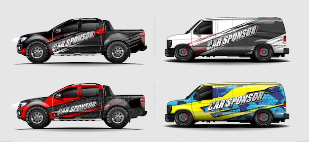 Набор транспортного средства графического набора вектора. современный абстрактный фон для автомобильной брендинга и автомобильных наклеек.