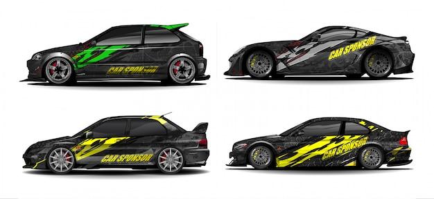 Автомобиль упаковка наклейка дизайн вектор. абстрактный графический дизайн комплектов для автомобилей, гоночных автомобилей, ралли, ливреи, спортивных автомобилей