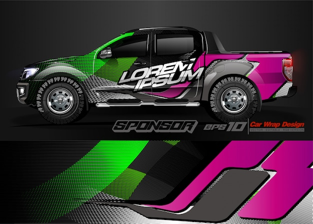 レースカーのラップデザインと車両のカラーリングの抽象的な背景のベクトル