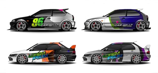 Набор графического комплекта автомобиля. современный абстрактный фон для автомобильной брендинга и автомобильных наклеек.