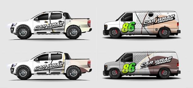 Набор ливреи автомобилей графический вектор. абстрактный гоночный дизайн формы для транспортного средства виниловой пленкой фона