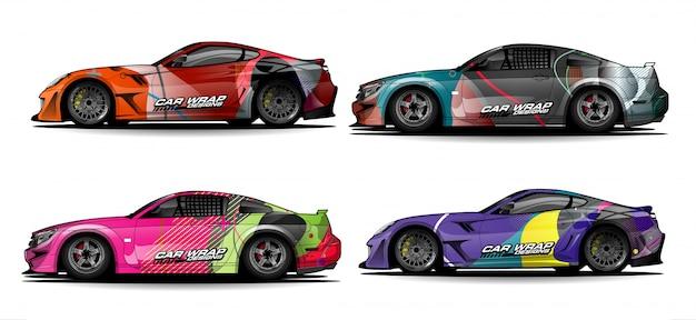 Набор простых красочных дизайнов автомобильной пленки