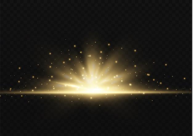 Свет подсвечивают желтым спецэффектом с лучами света и волшебными искорками. солнечный луч свечение прозрачный вектор световой эффект набор, взрыв, блеск, искра, солнечная вспышка.