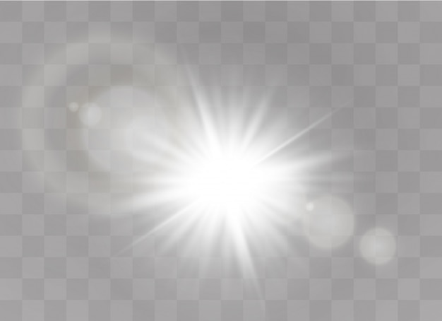 透明な背景に輝く光が爆発します。輝く星。透明な輝く太陽。