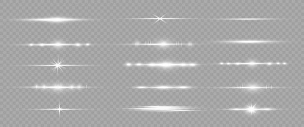 Белый горизонтальный объектив с бликами. лазерные лучи, горизонтальные световые лучи.
