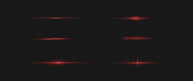 Красный горизонтальный объектив с бликами. лазерные лучи, горизонтальные световые лучи.