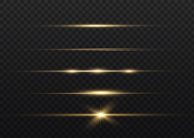Желтый горизонтальный объектив с бликами. лазерные лучи, горизонтальные световые лучи. легкие вспышки.