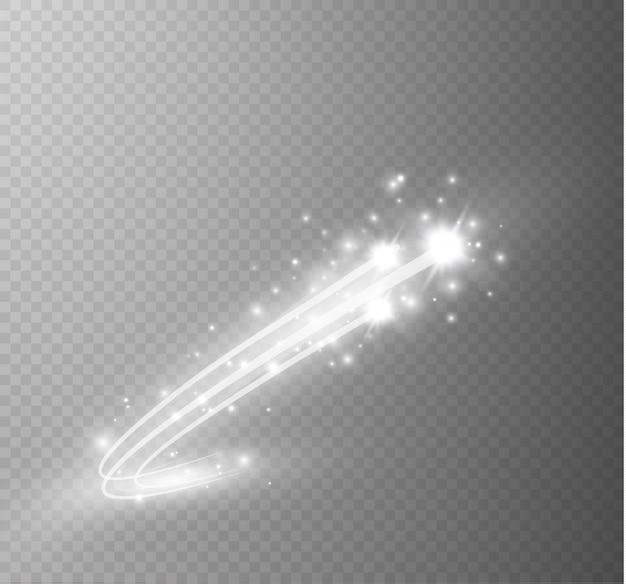 曲線のネオンぼかしから抽象的な輝く魔法の星の光の効果。