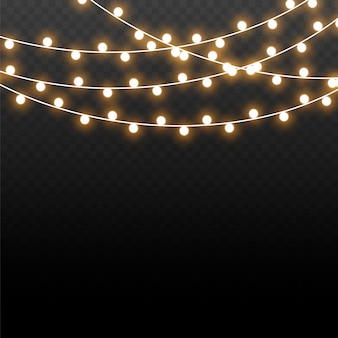Рождественские огни, изолированные на прозрачном фоне. рождественские светящиеся гирлянды. векторная иллюстрация