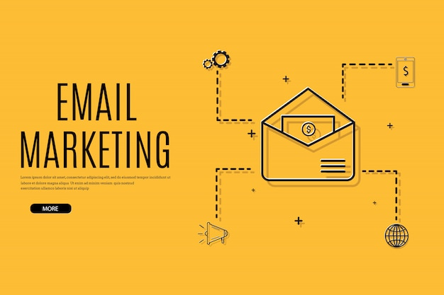 Цифровой маркетинг, электронная почта, рассылка и шаблон подписки
