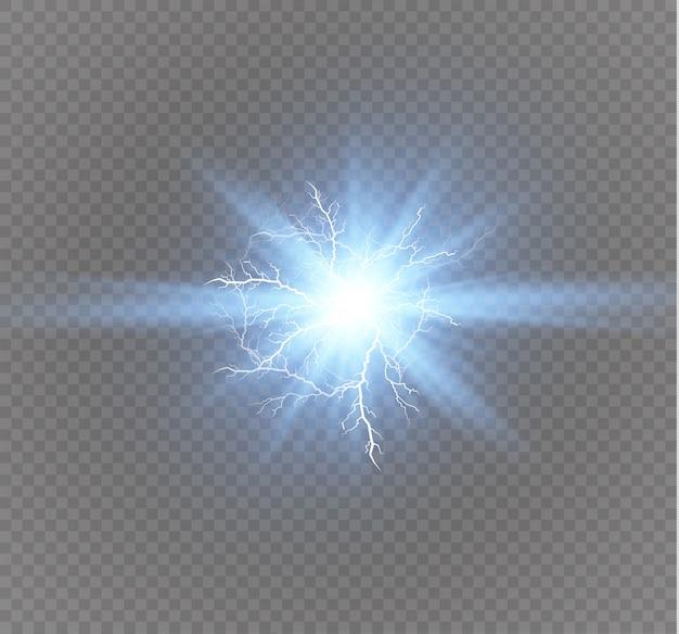 電気稲妻。エネルギー効果。明るい光フレアと透明な背景に火花。