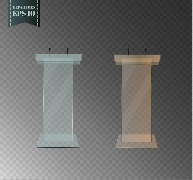 ガラスの表彰台。美しいトリビューンが透明な背景にマイクを持って立っています。パフォーマンスやスピーチ用。