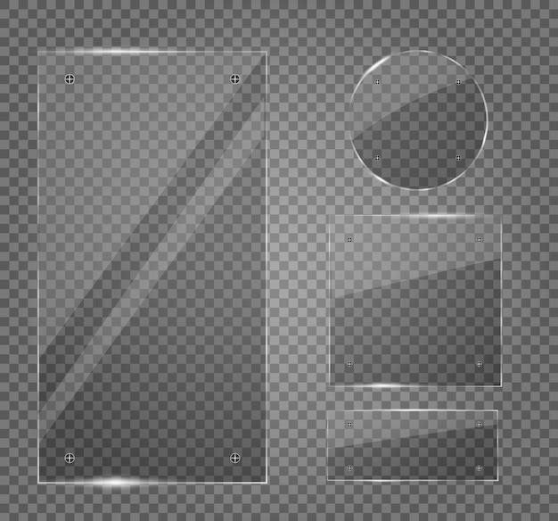 Набор стеклянных тарелок. стеклянные баннеры на прозрачном фоне. прозрачность. для рекламы