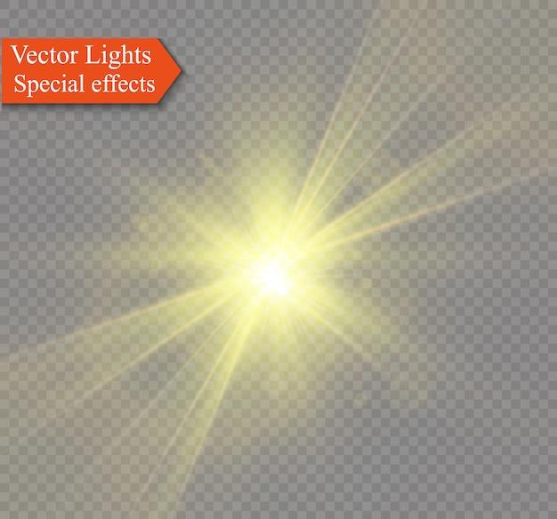 黄色の輝く光が透明で爆発する