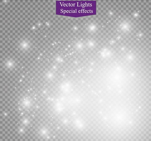ほこりの火花と金色の星が特別な光で輝きます。ベクトルは透明な背景の上で輝きます。クリスマスライト効果。きらめく魔法のちり粒子。