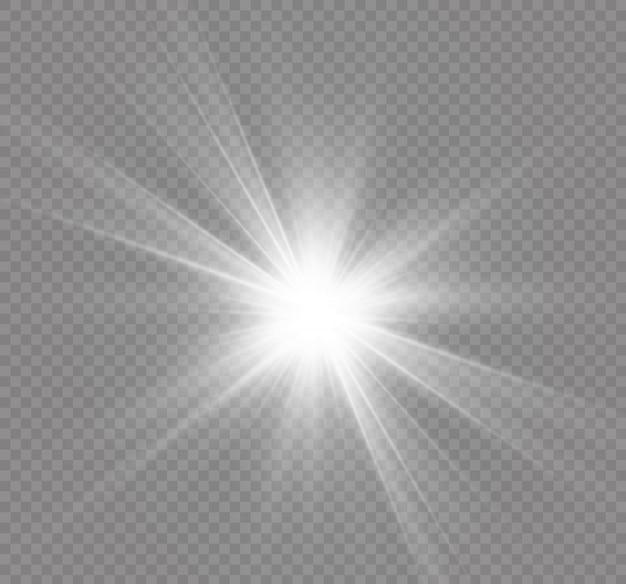 Белый светящийся свет взрывается на прозрачном фоне. сверкающие частицы волшебной пыли. яркая звезда. прозрачное яркое солнце, яркая вспышка. центрировать яркую вспышку.