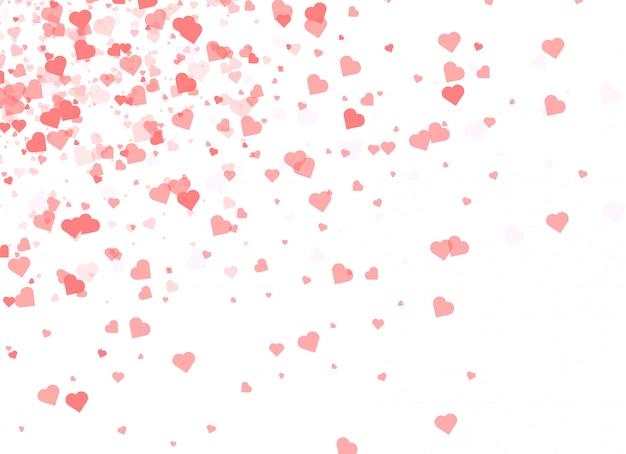 バレンタインの日にハートの形で落ちる紙吹雪。
