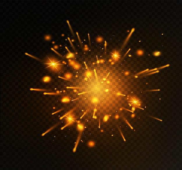 Желтые искры блестят особым световым эффектом. блестки на прозрачном фоне. рождественский абстрактный узор. сверкающие частицы волшебной пыли