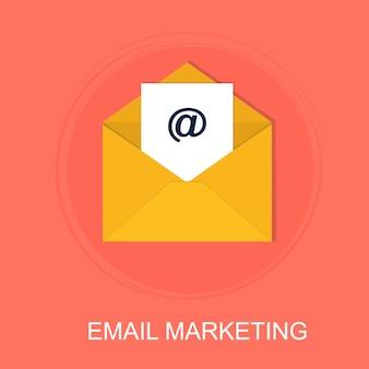 メールマーケティングの概念とデジタル広告とのコミュニケーション「メールマーケティング」とメディアサイン。広告とウェブサイトのベクターイラストです。