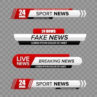 Тв-бар новостей. нижние третьи бары новостей тв установить вектор. телевизионные трансляции сми, заголовок баннера.