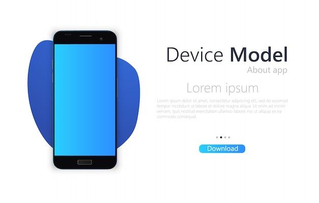 Смартфон пустой экран, макет телефона.