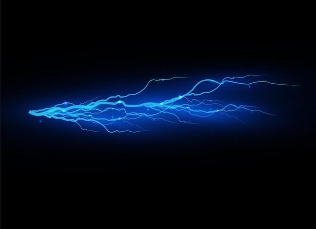 Молния на прозрачном фоне. электрический разряд и ток. волшебные и яркие световые эффекты. светло-синий. иллюстрация