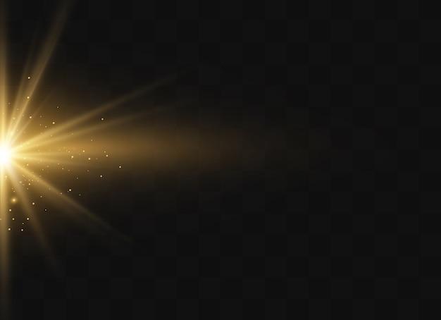 透明な背景に黄色の輝く光が爆発します。きらめく魔法のほこりの粒子。輝く星。透明な太陽、明るいフラッシュ。きらめき。