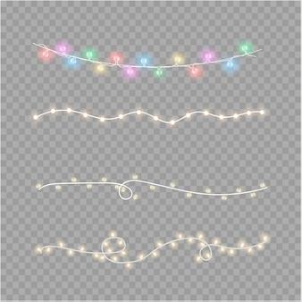 クリスマスライトは、透明な背景に分離されました。クリスマス輝く花輪。ベクトル図