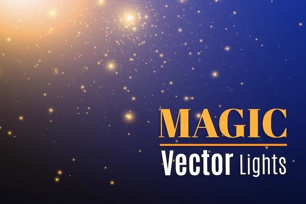 青い火花と星が特別な光の効果を輝きます。輝く魔法のほこりの粒子。