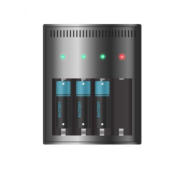 Зарядное устройство с пальцами разряженной батареи и индикаторами, высоко изолированными.