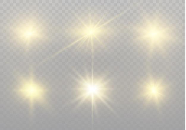 Звезда на прозрачной предпосылке, световой эффект, иллюстрация. взрыв с блестками