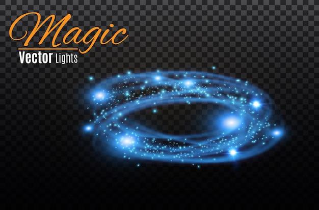 Прозрачный световой эффект круговой линзы. абстрактный крест эллипс. вращательная линия свечения. мощность энергии. светящиеся кольца трассировки фона. круглая блестящая рамка. круг