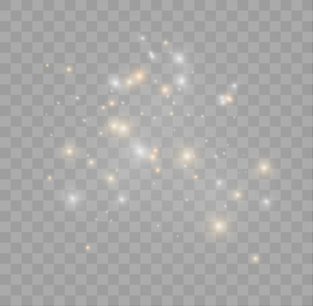 Белые искры и золотые звезды сверкают особым световым эффектом. сверкает на прозрачном фоне. сверкающие частицы волшебной пыли.