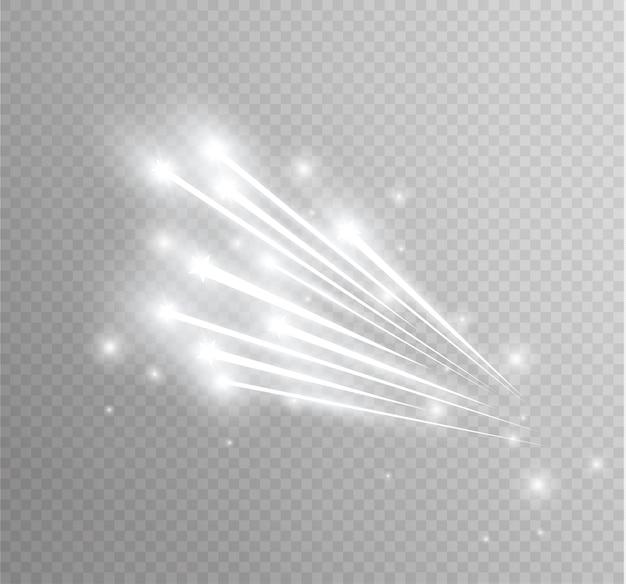曲線のネオンぼかしから抽象的な輝く魔法の星の光の効果。サイドからキラキラ星のダストトレイル透明な背景に彗星を飛んで