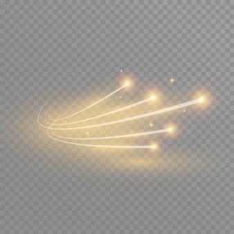 曲線のネオンぼかしから抽象的な輝く魔法の星の光の効果。きらびやかな星のダストトレイル。透明な背景に飛んでいる彗星