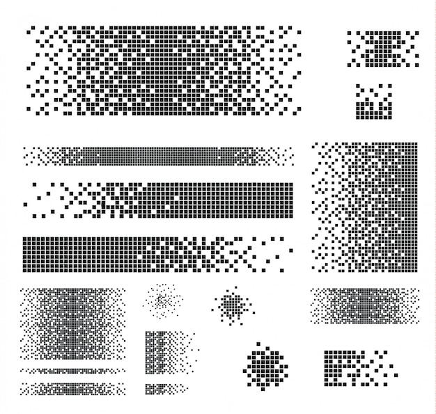 崩壊効果のある塗りつぶされた正方形の点線セット