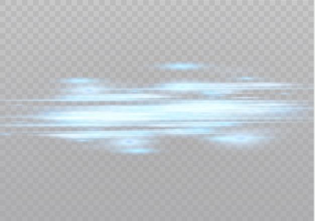 Синие горизонтальные блики. лазерные лучи, горизонтальные световые лучи. красивые легкие вспышки. светящиеся полосы на темном фоне. яркий абстрактный игристое подкладке фон.