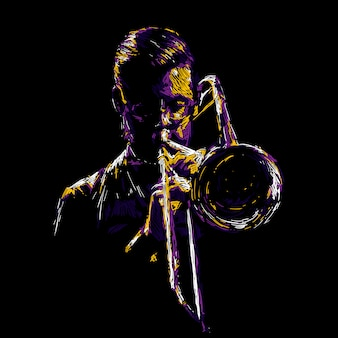 抽象的なジャズトランペット奏者の図
