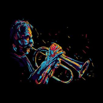 抽象的な古いジャズトランペット奏者の図