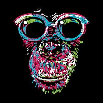 メガネと抽象的なカラフルなチンパンジー
