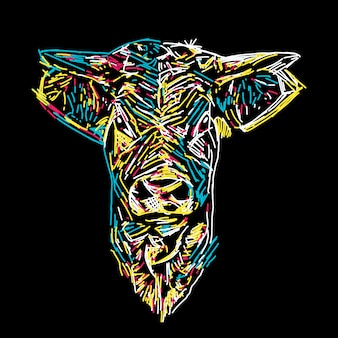 抽象的なカラフルな牛の肖像画イラスト