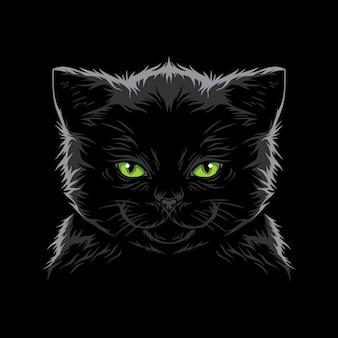 クールな猫の顔イラストベクトル