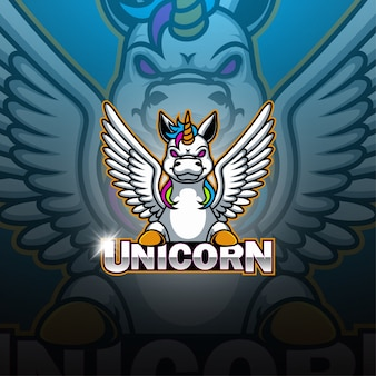 Единорог киберспортивный талисман логотип