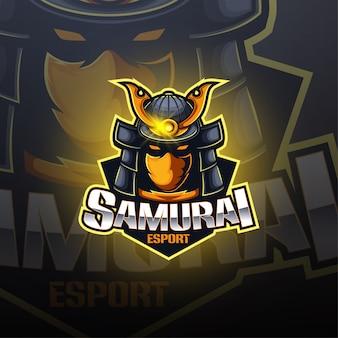 Самурай киберспорт дизайн логотипа