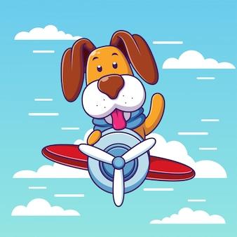 Летающая собака, летящая на самолете в облаках