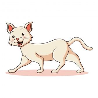 Мультяшный смешной кот на белом фоне