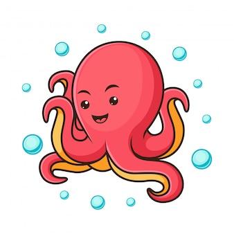 Милый осьминог с пузырьками мультяшный